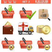 stock photo of gift basket  - Shopping Icons Set 3 including basket - JPG