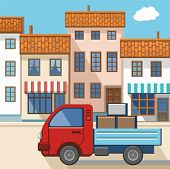 pic of truck-cabin  - Color vector illustration with the image of a small truck coming down the street in a small European city - JPG