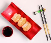 stock photo of siomai  - Vietnam style steamed shrimp dumplings served on a white background - JPG