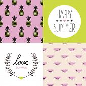 picture of vivid  - Seamless colorful summer pattern set collection and postcard cover designs with pineapple water melon and hand lettering in vivid colors - JPG