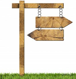 picture of opposites  - Wooden directional sign with two empty arrows in opposite direction hanging with a metal chain on a wooden pole and isolated on a white background with green grass - JPG