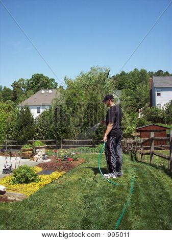 Man Watering Backyard Garden