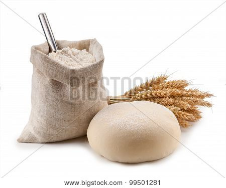 Kitchen Utensils, Ears, Flour In A Bag Isolated