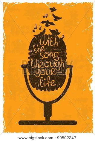 Retro Musical Illustration With Silhouette Of Microphone.