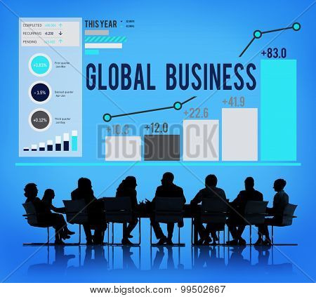 Global Business Data Analysis Statistics Concept