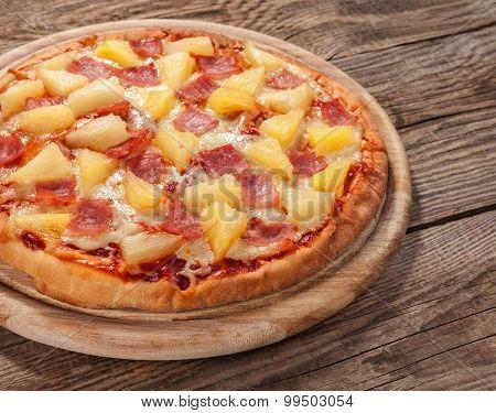 Hawaiian Pizza On The Old Board