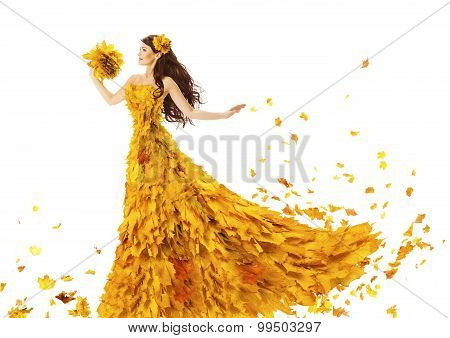 Woman Autumn Fashion Dress Of Fall Leaves, Model Girl In Yellow Wedding Bride Gown On White