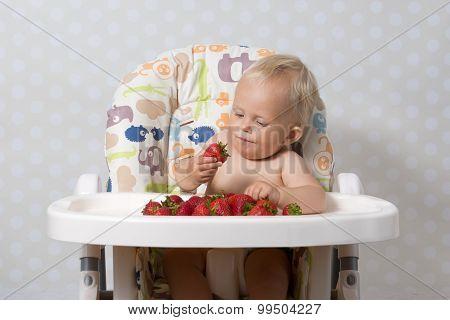 Baby Girl Eating Strawberries
