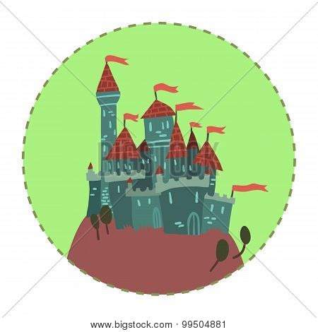 Cartoon Castle on a Hill flat icon.