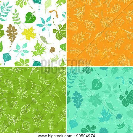 Set Of Seamless Leaves Patterns.