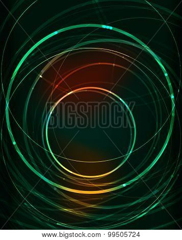 Glowing circle and blending colors in dark space.  illustration. Abstract background