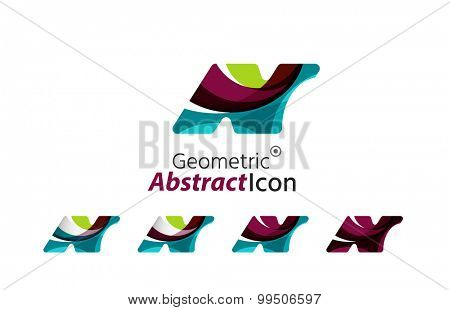 Set of abstract geometric company logo N letters.  illustration of universal shape concept made of various wave overlapping elements