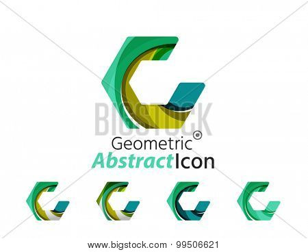 Set of abstract geometric company logo hexagon shapes.  illustration of universal shape concept made of various wave overlapping elements