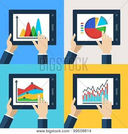 Vector Set Of Touchscreen Tablets With Flat Diagram And Chart Icons On The Screen.