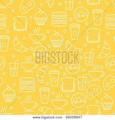 Seamless Vector Simple Linear Food Pattern. Breakfast Illustration Of Tea, Coffee, Juice, Sandwich,