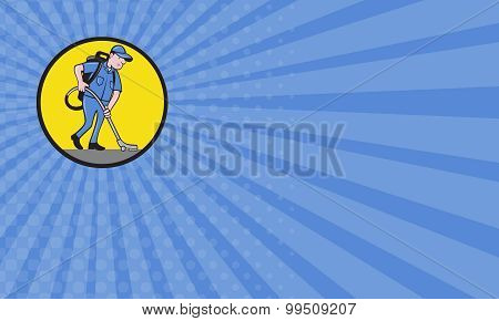 Business Card Commercial Cleaner Janitor Vacuum Circle Cartoon