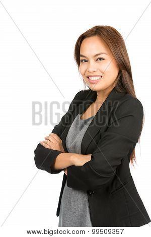 Natural Asian Woman At Camera Arms Folded Half V