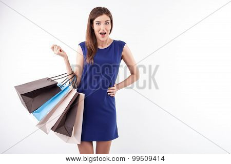Pretty young girl is crazy about sales