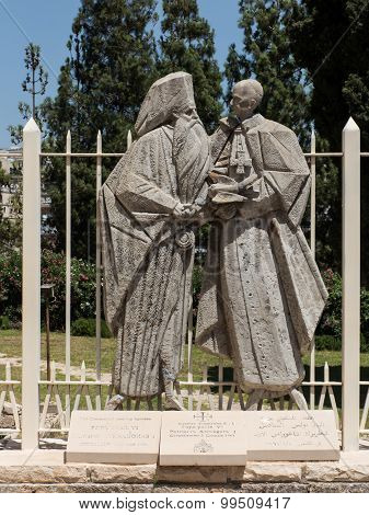 Nazareth, Israel-july 08, 2015: Statue Of Pope Paul Vi And Patriarch Atenogoras I That Is Next To Th