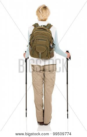 rear view of female hiker isolated on white background