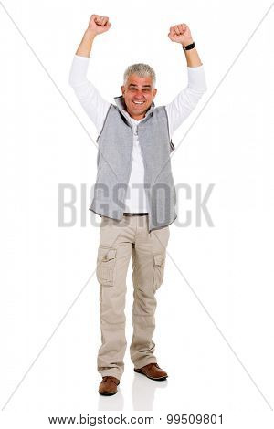 happy mid age man celebrating success on white background
