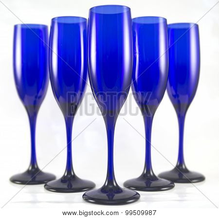 5 Blue Champagne Flutes