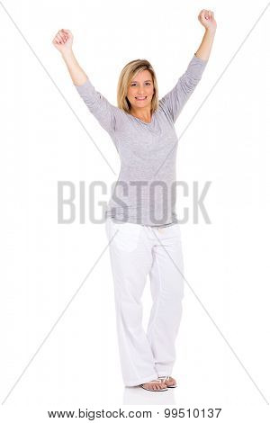 excited pregnant woman isolated on white background