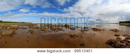 panorama of northern White Sea in Karelia, Russia
