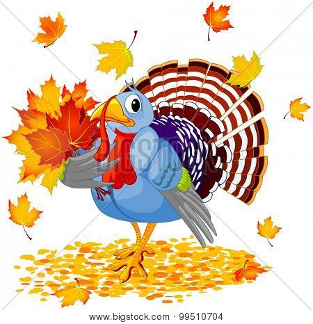 Cartoon Turkey with autumn bouquet, isolated on white background