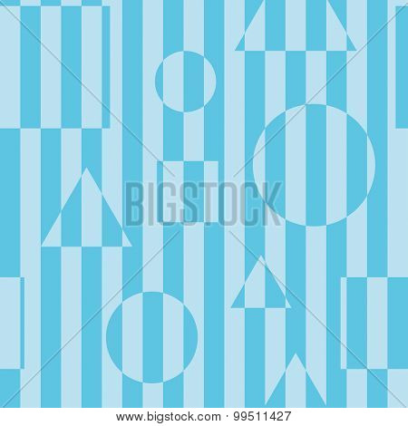 Striped seamless background in blue color with optical illusion effect.