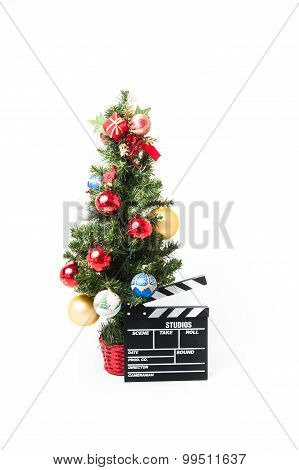 Christmas Tree And Movie Clapperboard