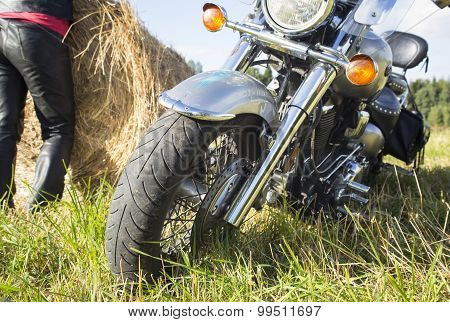 Motorcyclist Resting Outside The City
