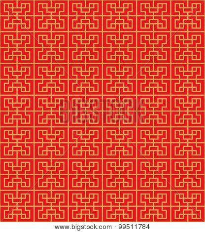 Golden seamless Chinese geometry square line lattice window tracery pattern background.