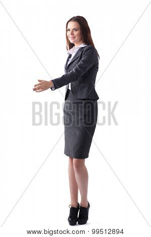 Business woman giving hand for handshake,