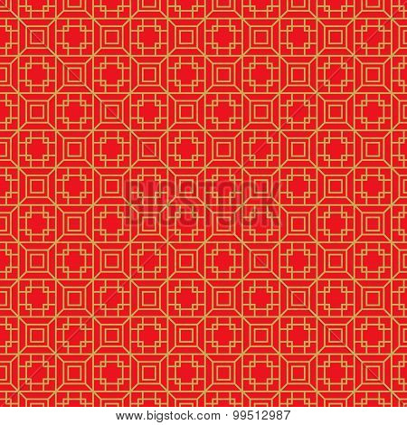 Golden seamless Chinese geometry square polygon lattice window tracery pattern background.