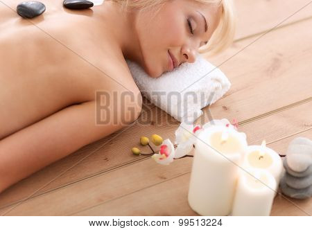 Young beautiful women relaxing and enjoying at the spa center