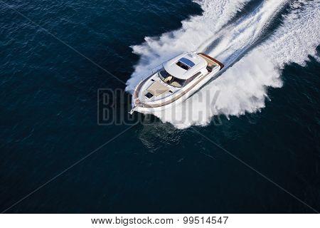 Luxurious Yacht Cruising Through The Sea
