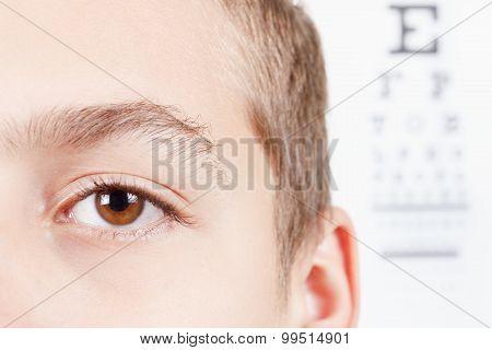 Child an ophthalmologist .Portrait of a boy.