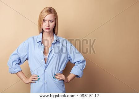 Attractive young girl is expressing her resentment