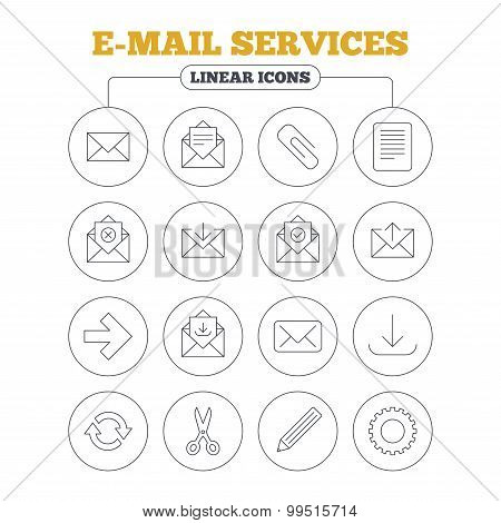 Mail services icons. Mail, clip and download.