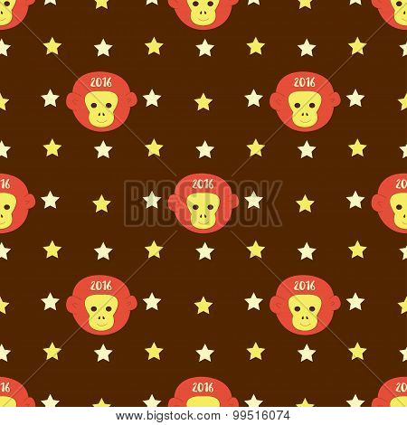 New Year 2016 Seamless Pattern With Monkey Head And Stars. Vector Background For Your Design, Textil
