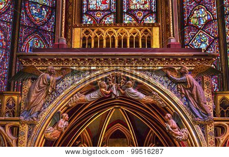 Stained Glass Angels Wood Carvings Cathedral Sainte Chapelle Paris France