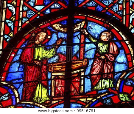 Jesus Woman Well Stained Glass Sainte Chapelle Paris France