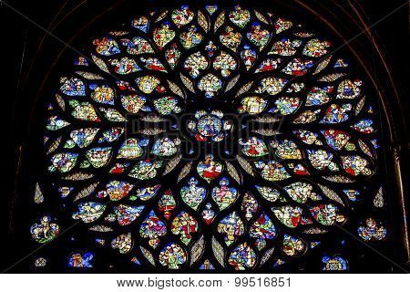 Jesus Christ With Sword Rose Window Stained Glass Sainte Chapelle Paris France
