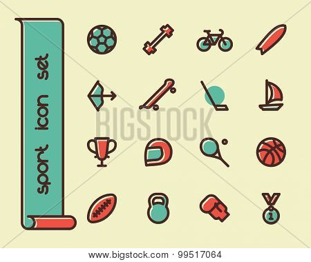 Fat Line Icon set for web and mobile. Modern minimalistic flat design elements of sport equipment, Health and Fitness