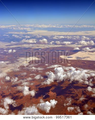 Aerial View Of Salt Lakes & Desert At Glendambo,  Australia
