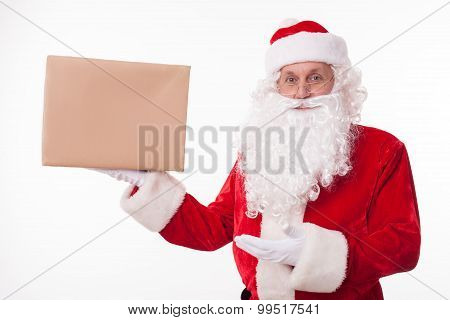Cheerful old Father Christmas is congratulating you