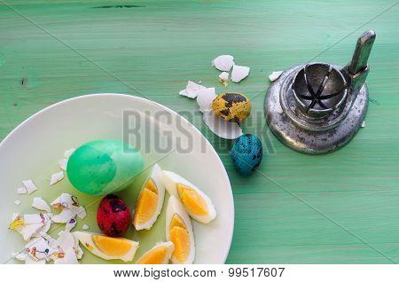 Vintage Easter With Old Egg Slicer