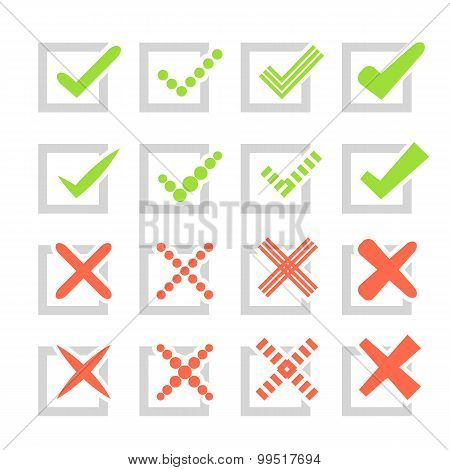 Set of different  check marks or ticks and crosses