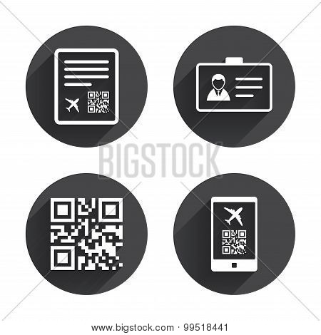 QR scan code icon. Boarding pass flight sign.